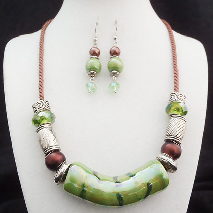 green and brown tube necklace or earrings