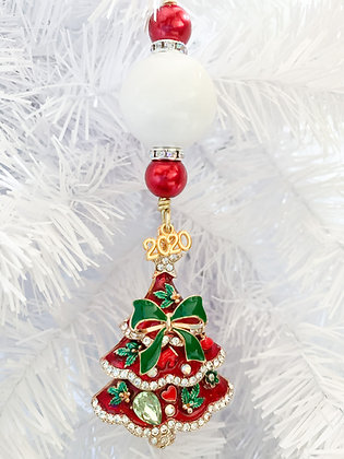 red, green and white with holiday tree ornament
