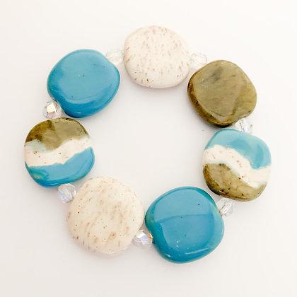 blue, green and cream budget bracelet