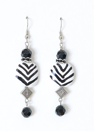earrings - black and white