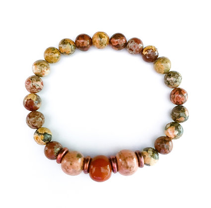 shades of brown and green stackable bracelet