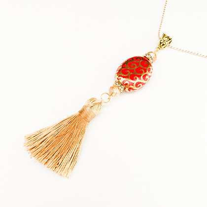 red and gold with tassel necklace