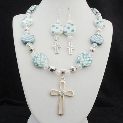 mint and teal green with cross necklace or earrings