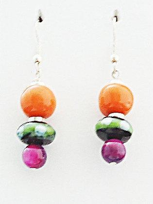 black, green, purple and orange earrings