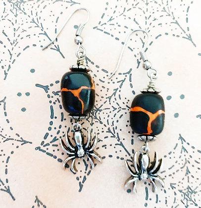 black and orange giraffe print earrings