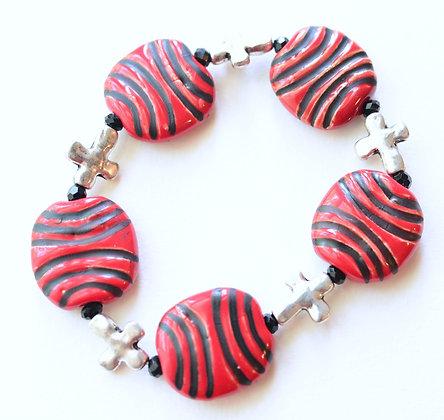 red and black cross bracelet