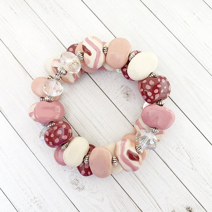 pink and cream wrap bracelet