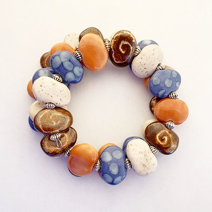 browns, cream, blue wrap bracelet