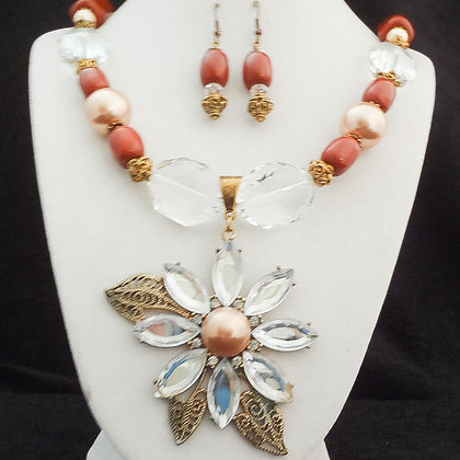 brown with glass pendant necklace or earrings
