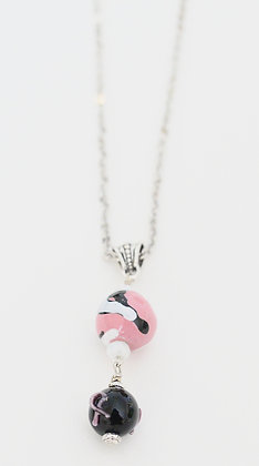 pink and black ribbon necklace