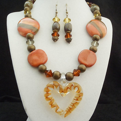 brown with heart necklace or earrings