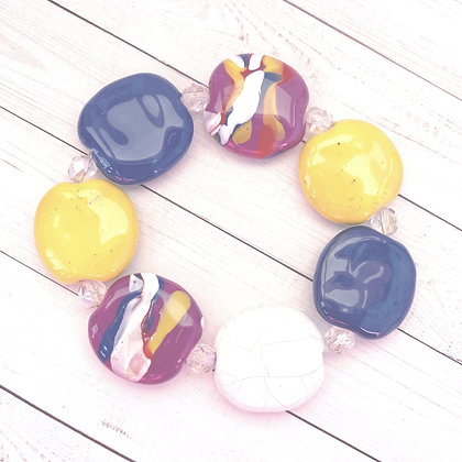 blue, purple, white and yellow budget bracelet
