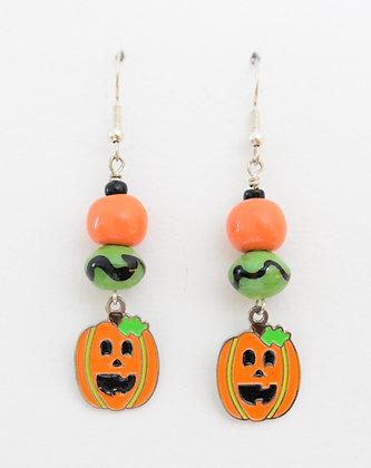orange and green jack-o-lantern earrings