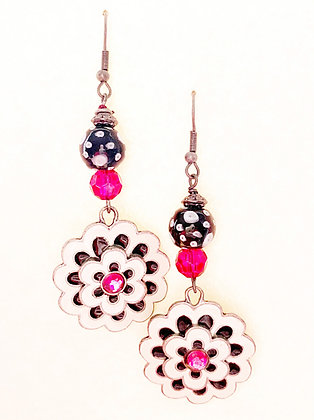 black and white retro earrings