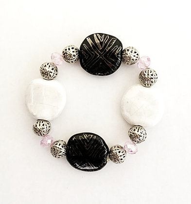 black, white and pink braclet