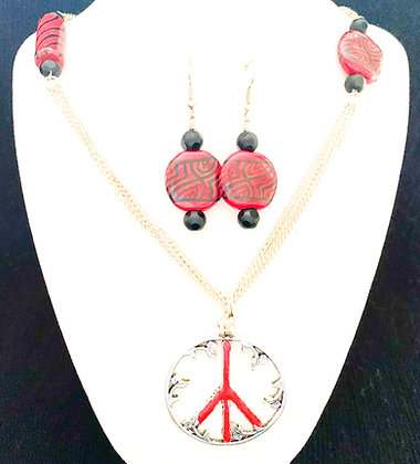 red with black on chain necklace or earrings
