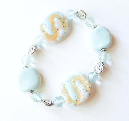 mint green and sand bracelet and earring set