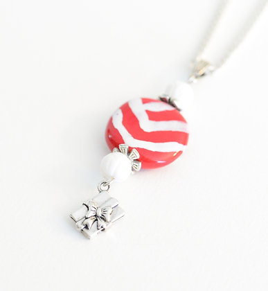 red & white present necklace