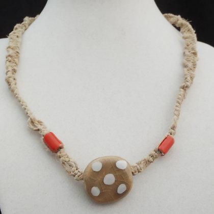 gray, white, orange macrame necklace