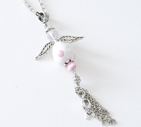 white with pink angel hope necklace