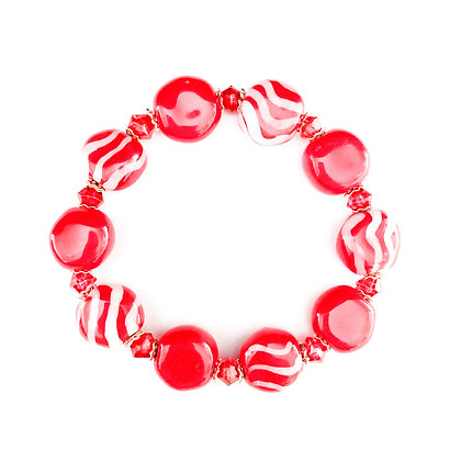 red candy striped coin bracelet