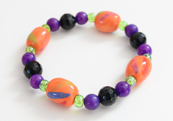 orange and purple bracelet