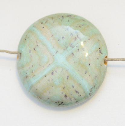 """green """"X"""" design pancake pendant"""
