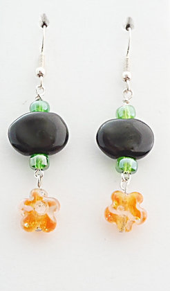 black and orange with flower charm earrings