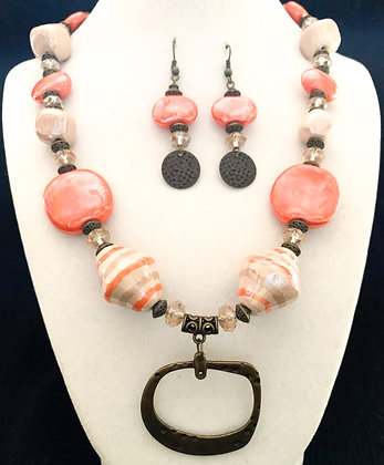 orange and cream necklace or earrings
