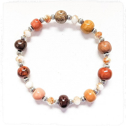 shades of brown and white stackable bracelet