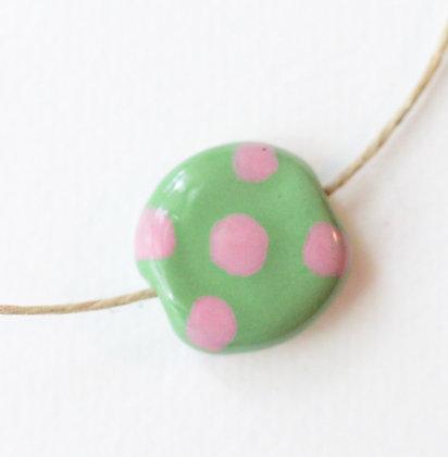 green with pink large dots mini pita pat