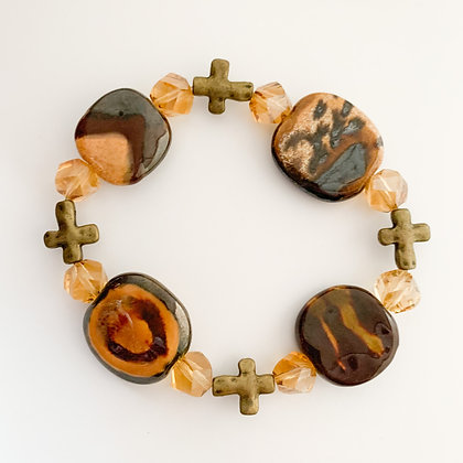 shades of brown cross bracelet
