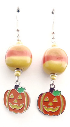 yellow and orange jack-o-lantern earrings