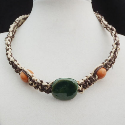 green and brown macrame necklace