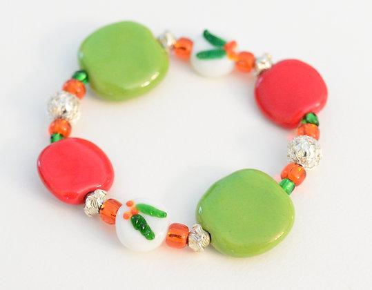 bracelet - red & green holly