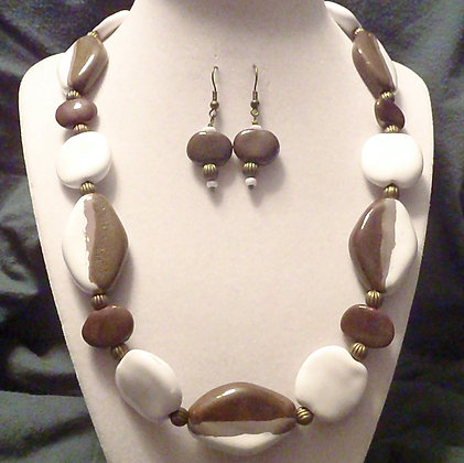 white, gray and brown stripe necklace or earrings