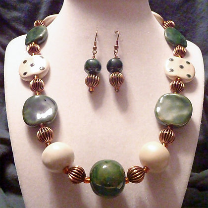 cream dot and green necklace or earrings