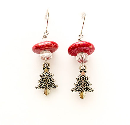 red with silver tree earrings