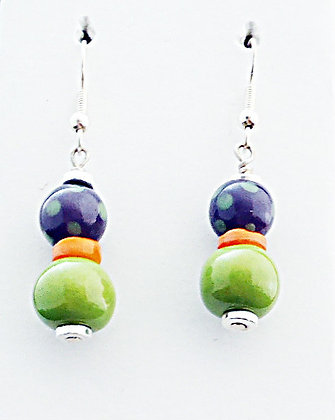 green, purple dot and orange earrings