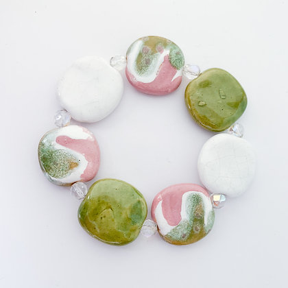 pink, white and green budget bracelet