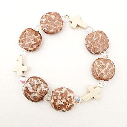brown with cream crosses budget bracelet