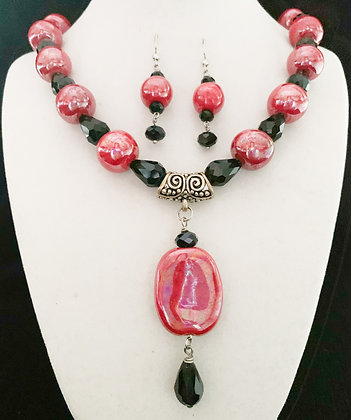 red and black mother-of-pearl necklace or earrings