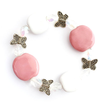 pink and white with butterflies bracelet