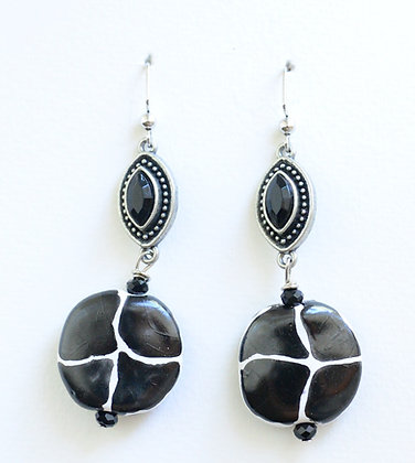black and white giraffe pattern earrings