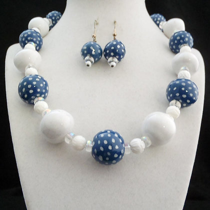 blue and white dots necklace or earrings