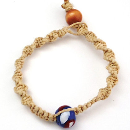 red, white, blue macrame bracelet