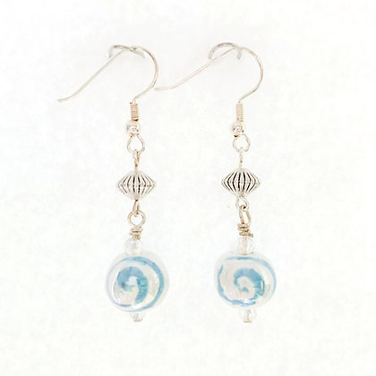 white with blue porini earrings