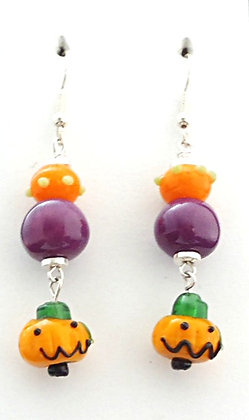 orange and purple jack-o-lantern earrings