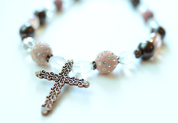 pink and brown cross necklace and earring set