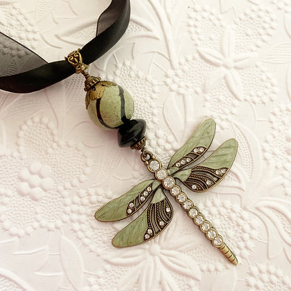 green and black dragonfly necklace